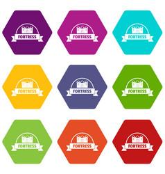 Emblem fortress icons set 9 vector