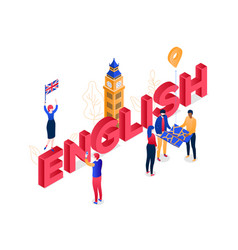 English language - modern colorful isometric vector