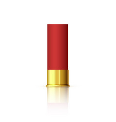 explosive cartridge for shotgun red realistic vector image