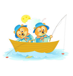 Fantasy two cute little bears fishing cover vector