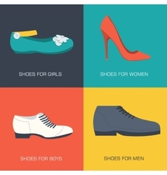 Fashion shoes for family on flat style vector