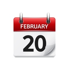 February 20 flat daily calendar icon Date vector