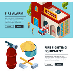 firefighters banners professional items fire vector image