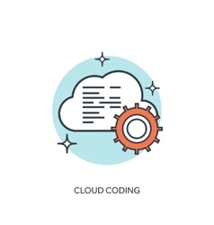 Flat lined cloud computing icon vector