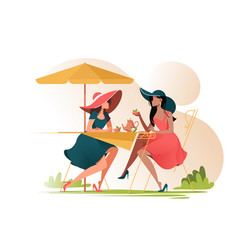 Flat young girl friends in cafe on meeting vector