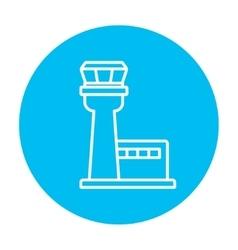 Flight control tower line icon vector image