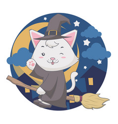 flying wizard white cat uses a broom vector image