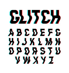 glitch font with distortion effect vector image