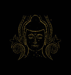 gold glitter buddha face for asian art concept vector image