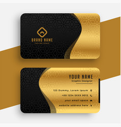 golden black premium wavy business card template vector image