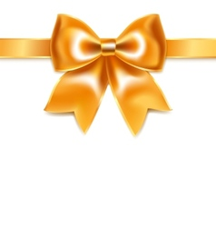 Golden bow of silk ribbon isolated on white vector image vector image