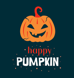 halloween with happy pumpkin and lettering vector image