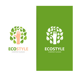 Hand and leaf logo combination arm vector