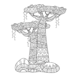Hand drawn doodle outline tree decorated vector image