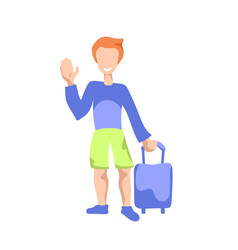 Happy man with suitcase waving hand flat vector