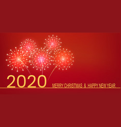 happy new year 2020 golden text with fireworks vector image