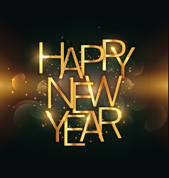 happy new year text written in golden color vector image