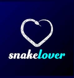 heart love snake reptile lover pet logo design vector image