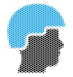 Hexagon halftone soldier helmet icon vector