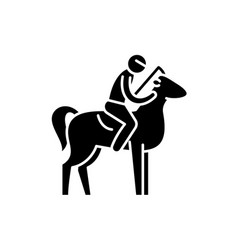 horseback riding black icon sign on vector image
