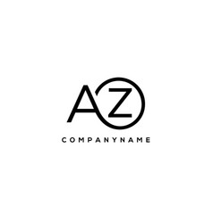Initial az letter logo with circle template vector