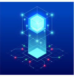 isometric abstract blue cube design digital vector image
