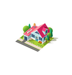 Isometric facade home cottage vector