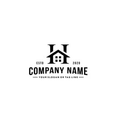 Letter h and home logo design vector