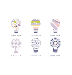light bulbs with geometric elements set modern vector image