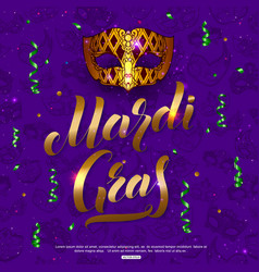 mardi gras carnival mask background with confetti vector image