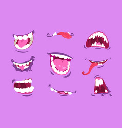 monster mouths cartoon scary and crazy faces with vector image