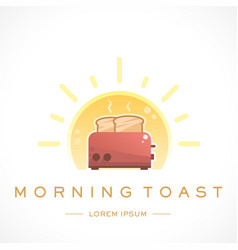 Morning toast design logo template and text vector