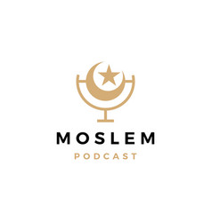 moslem podcast logo icon for islamic blog video vector image