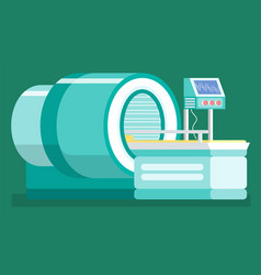 Mri machine with screen showing results diagnosis vector