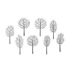 Naked trees silhouettes set hand drawn isolated vector