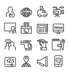 news mass media icon set in line style vector image