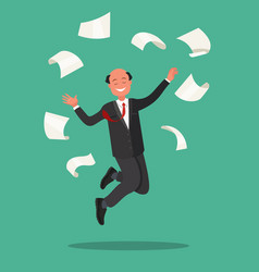 office worker jumps and throws the paper vector image