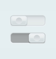On and off white plastic slider buttons vector