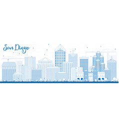 Outline san diego skyline with blue buildings vector