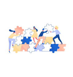 People assembling giant jigsaw puzzle together vector