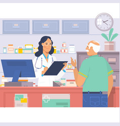 Pharmacist at counter in pharmacyman buys drugs vector
