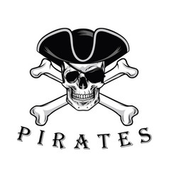 Pirate skull with cross bones hat and eyepatch vector