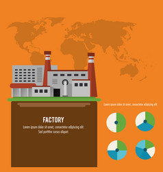 Plant infographic map earth factory icon vector