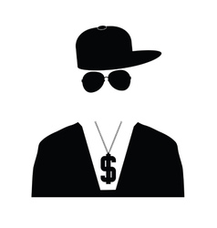 Rap singer in black vector