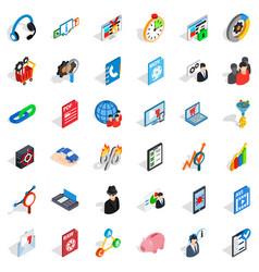 Safe database icons set isometric style vector