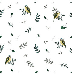 Seamless pattern with leaves and small cute birds vector