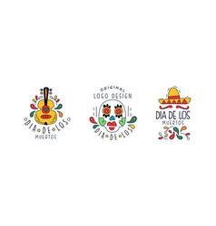 set dia de los muertos original logo design vector image