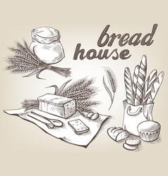 Set of fresh bread and sack with whole flour vector