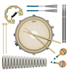 Set of percussion music instruments drums vector
