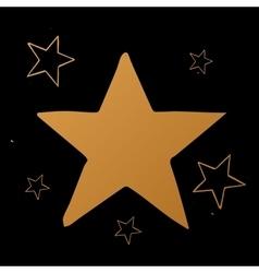 set of stars gold stars on black vector image